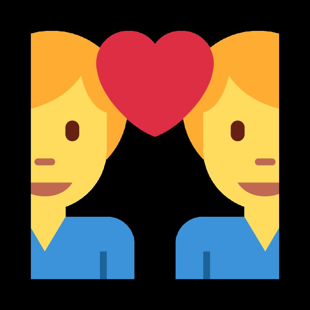 Couple with Heart Man Man Emoji